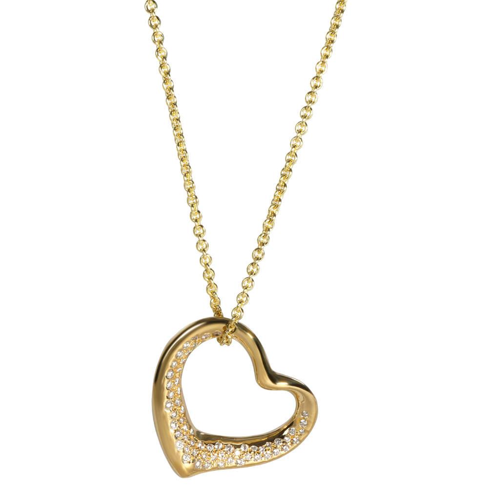Tiffany & Co. Elsa Peretti Diamond Opren Heart 18K Yellow Gold Necklace
