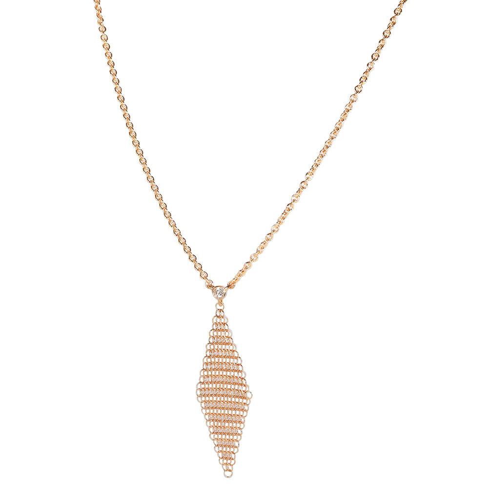 Tiffany & Co. Elsa Peretti Mesh Diamond 18K Rose Gold Necklace