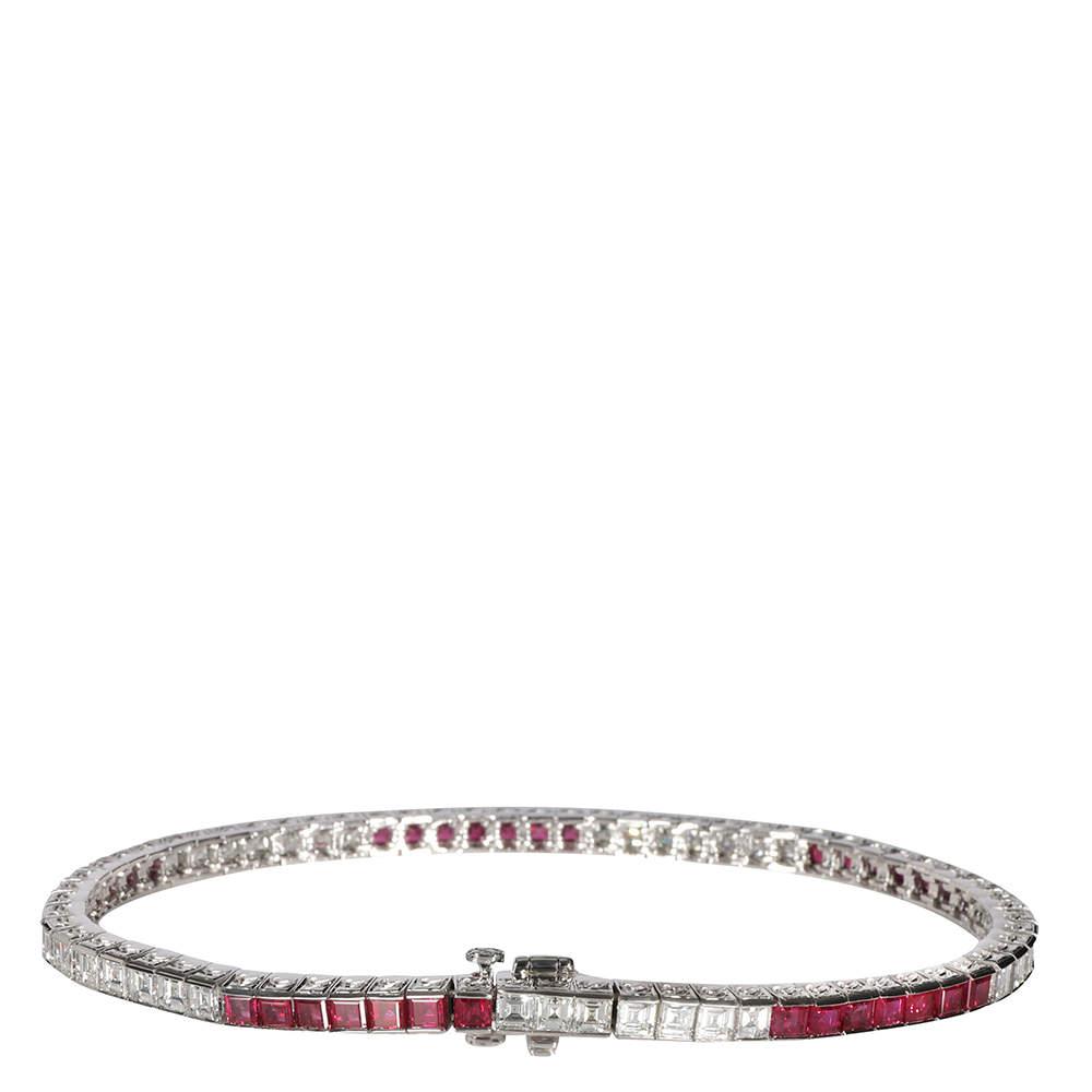 Tiffany Platinum Ruby & Diamond Channel Bracelet