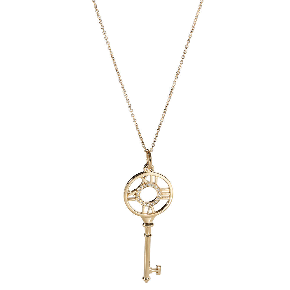 Tiffany & Co. Keys Diamond 18K Yellow Gold Necklace