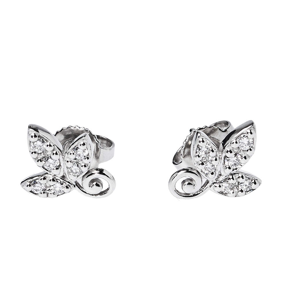 Tiffany & Co. Paloma Picasso® Olive Leaf Diamond 18K White Gold Stud Earrings