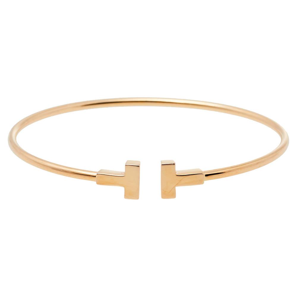 Tiffany & Co. T Wire 18K Rose Gold Narrow Bracelet