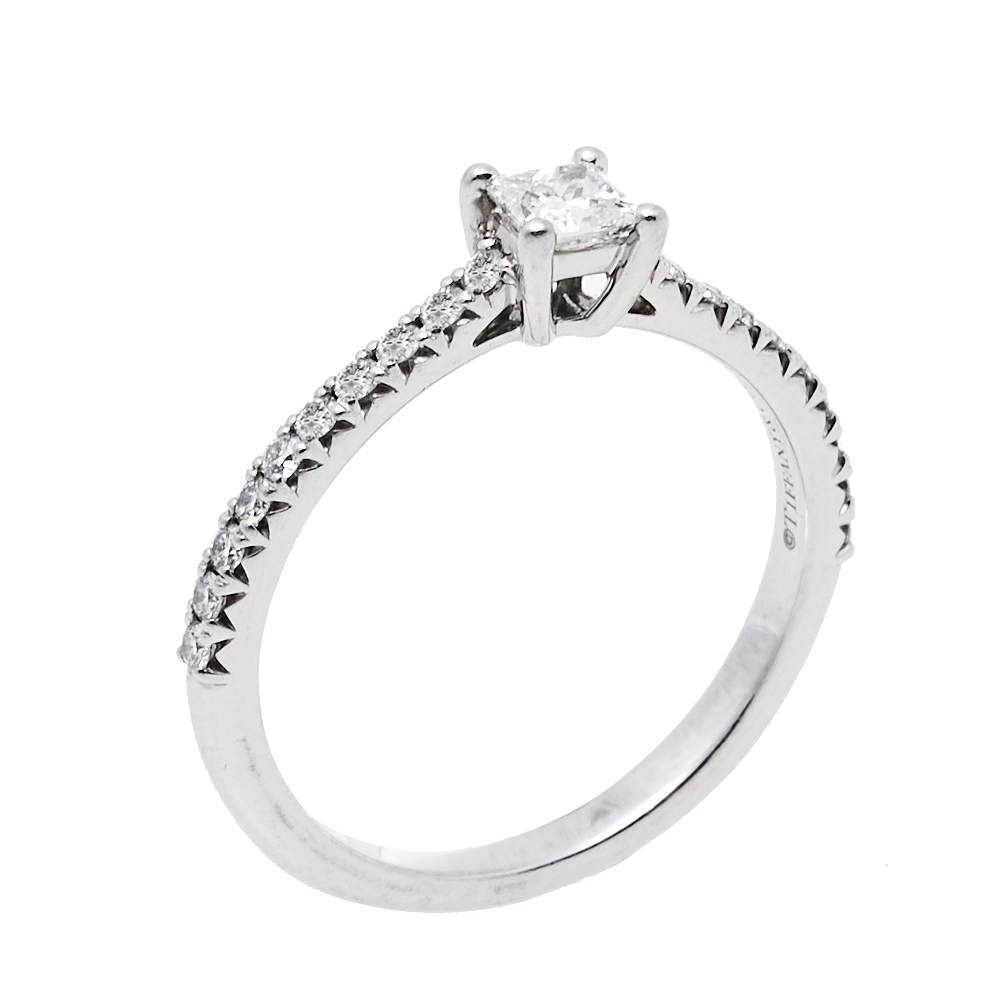 Tiffany & Co. Tiffany True® Solitaire 0.21ct Diamond Platinum Engagement Ring Size 52