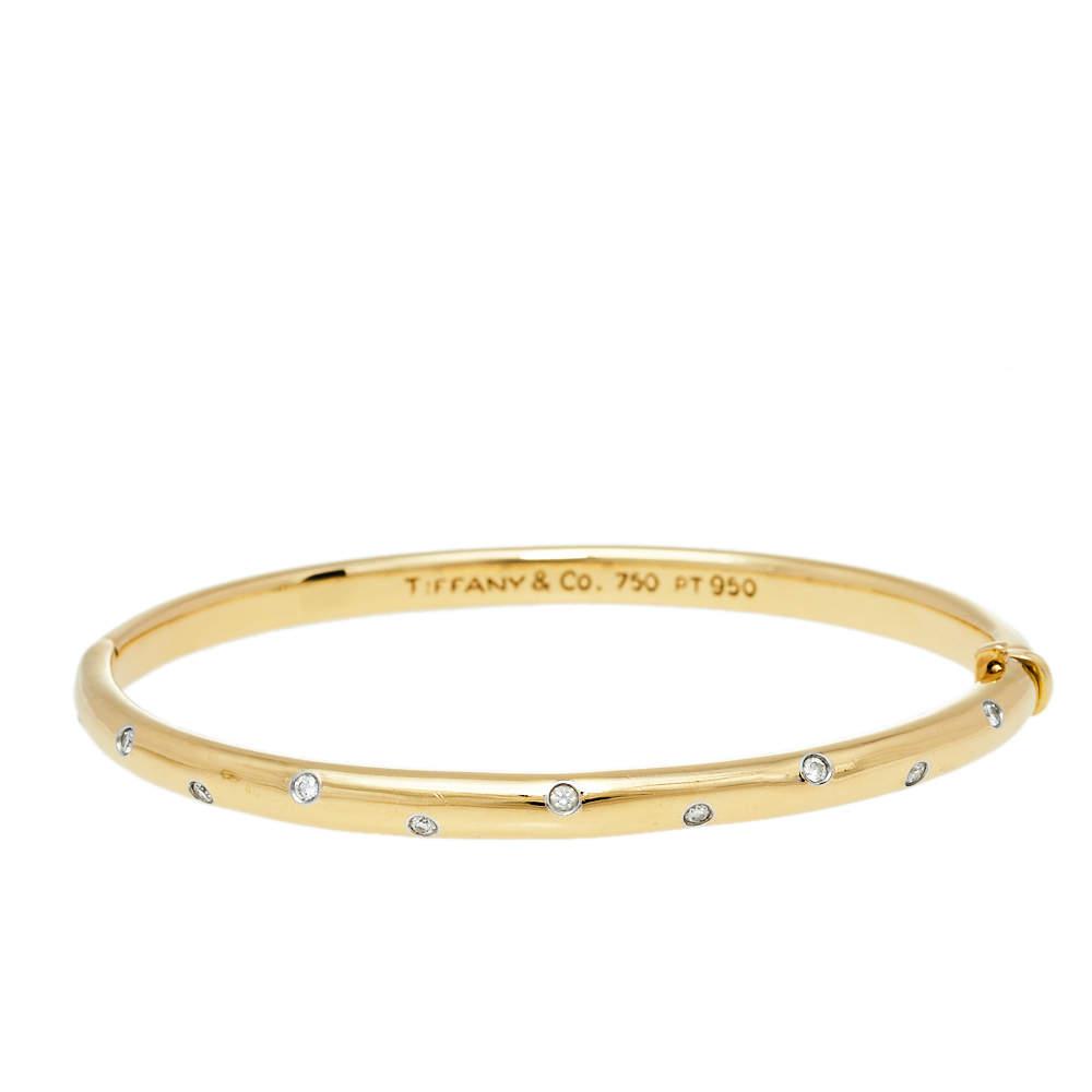 Tiffany & Co. Etoile Diamond 18k Yellow Gold Platinum Bangle Bracelet