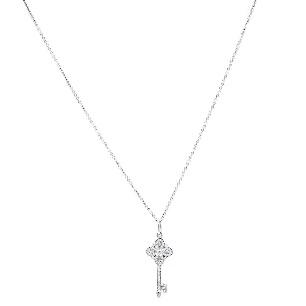 Tiffany & Co. Tiffany Victoria® Key Diamond 18K White Gold Pendant Necklace