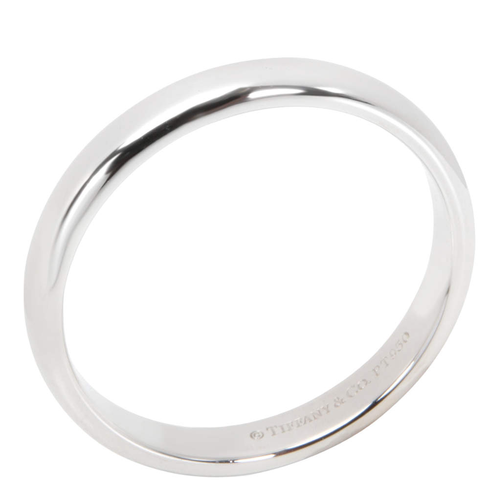 Tiffany & Co. Classic Collection 3mm Platinum Wedding Band Ring Size EU 54