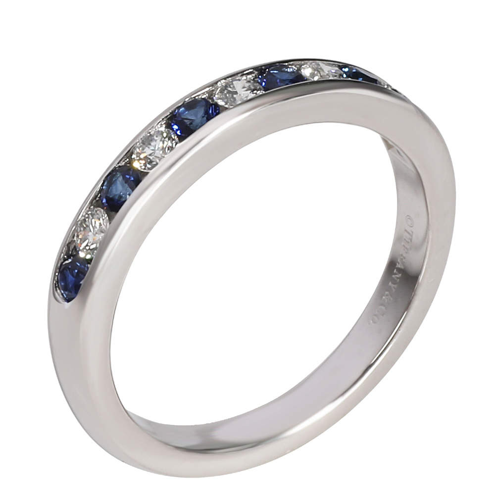 Tiffany Platinum Diamond and Sapphire Wedding Band Ring Size 51