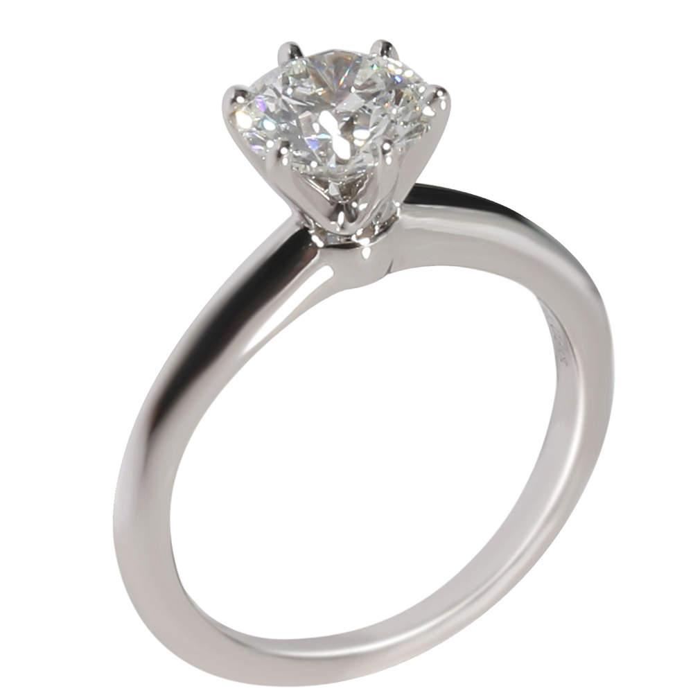 Tiffany & Co. Solitaire Diamond Platinum Engagement Ring Size EU 48
