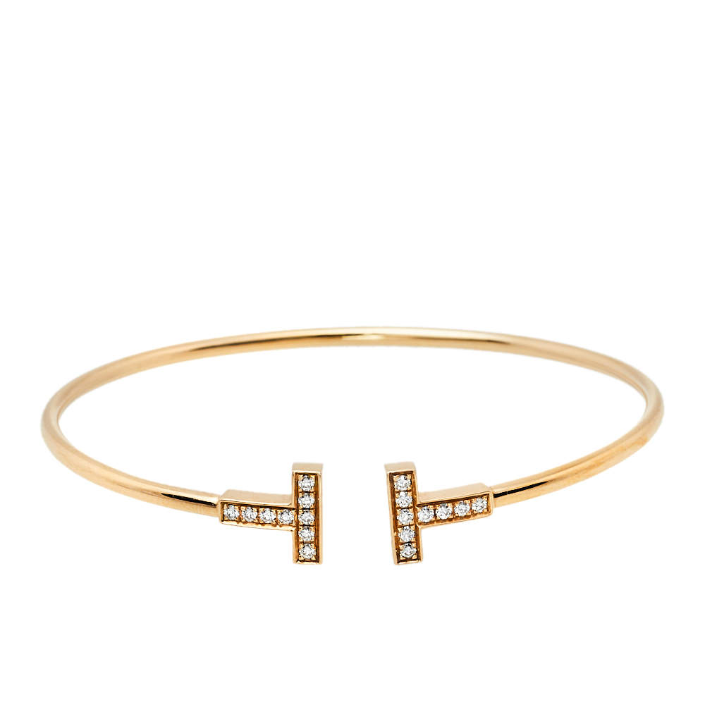 Tiffany & Co. Tiffany T Wire Diamond 18K Rose Gold Bracelet