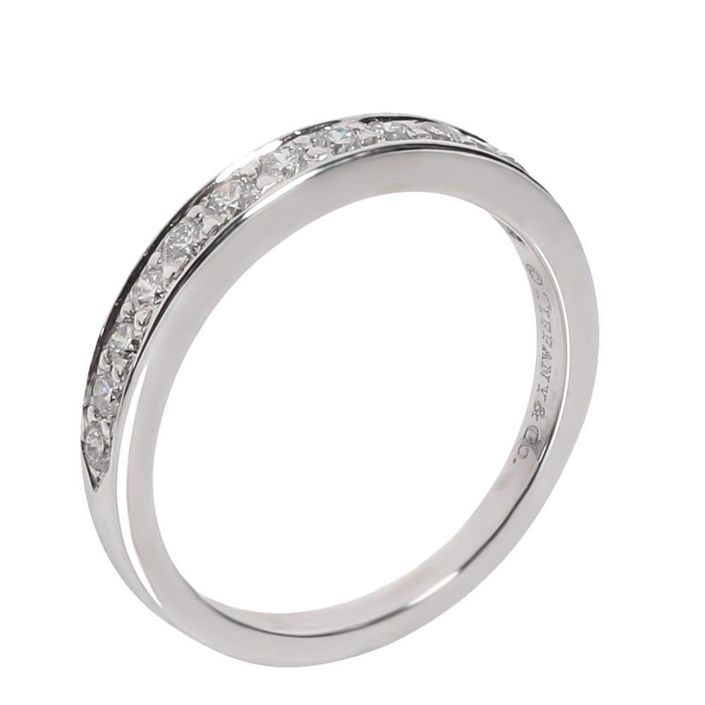 Tiffany & Co. Wedding Band Diamond Platinum Ring Size EU 51