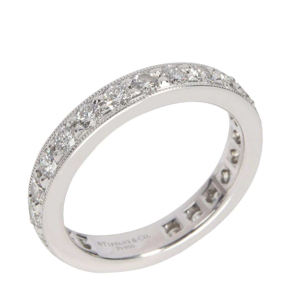 Tiffany & Co. Legacy Diamond Eternity Platinum Band Ring Size EU 53