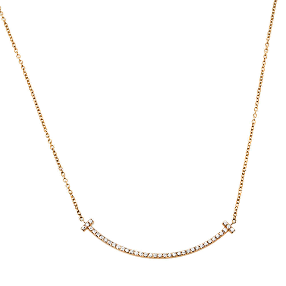 Tiffany & Co. Tiffany T Smile Diamond 18K Rose Gold Pendant Necklace