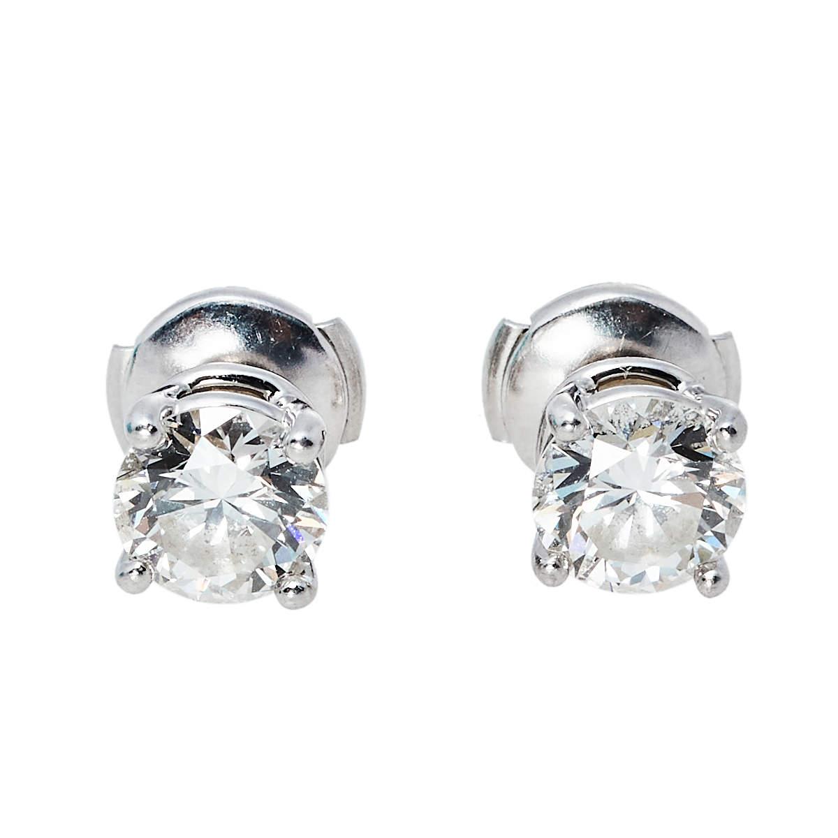 Tiffany & Co. Solitaire 2.04 ct Diamond Platinum Stud Earrings