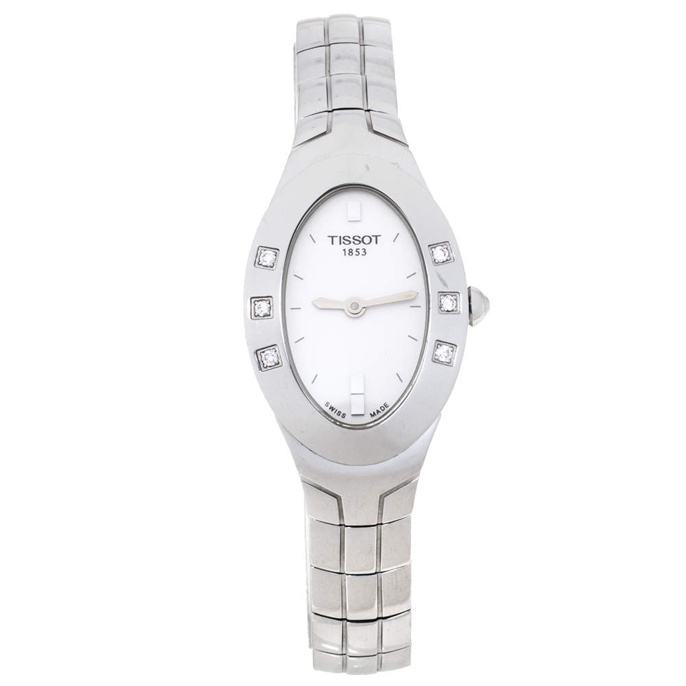 Tissot White Stainless Steel Diamond Oval Women's Wristwatch 21 mm
