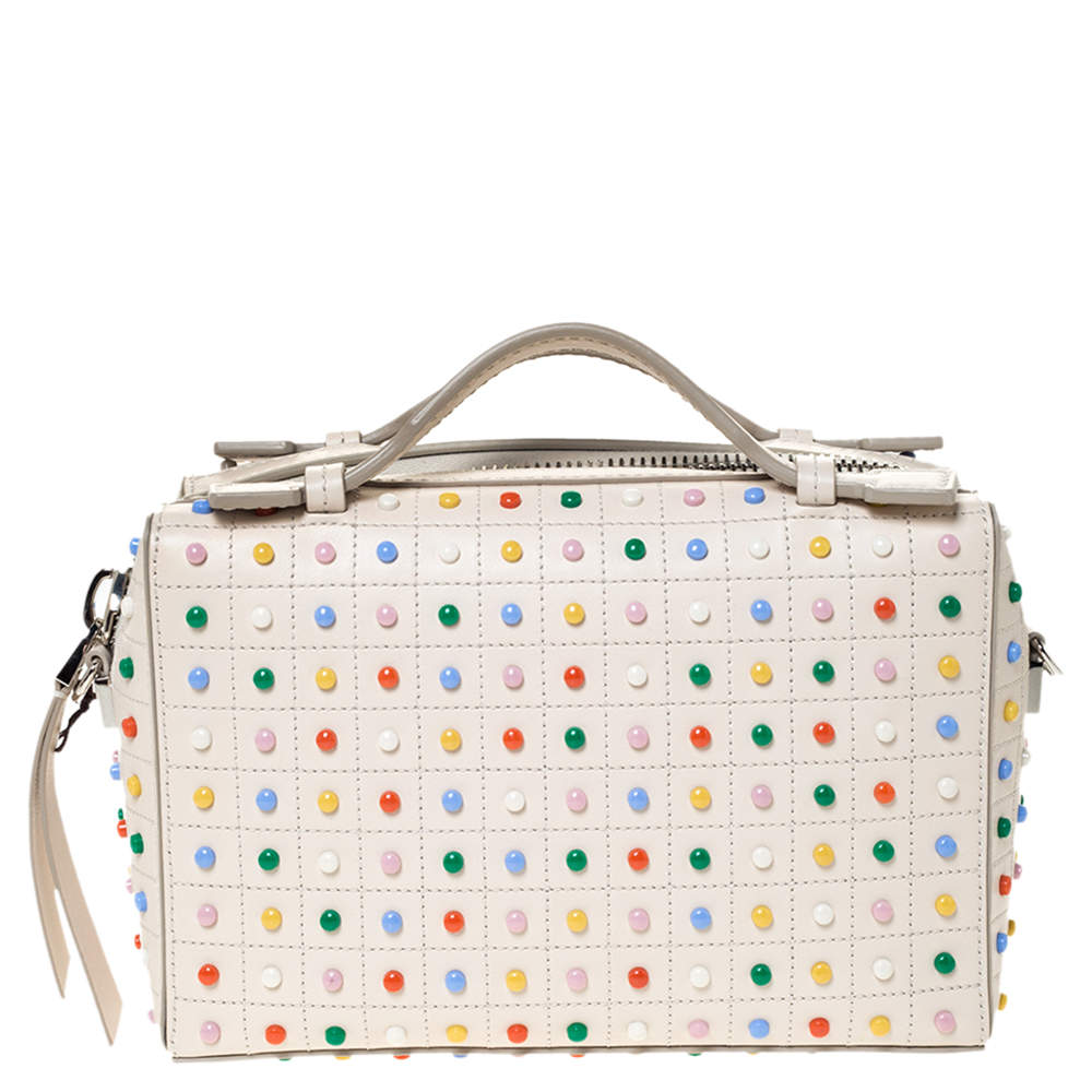 Tod's Cream Leather Multicolored Studs Gommino Bag
