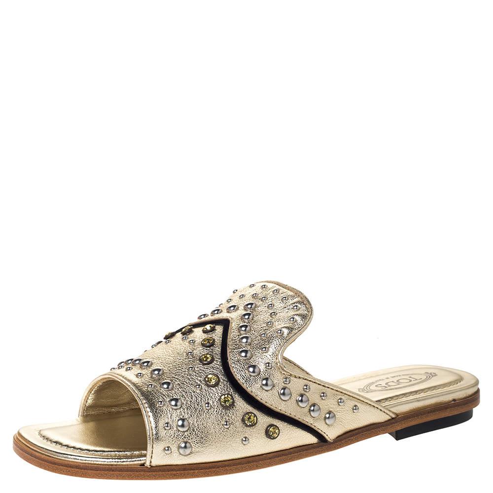 Tod's Metallic Gold Leather Studded Flat Slides Size 37