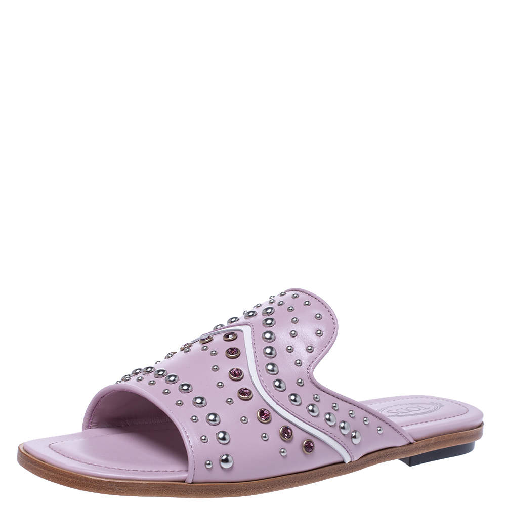 Tod's Light Pink Studded and Crystal Embellished Leather Slide Flats 37.5