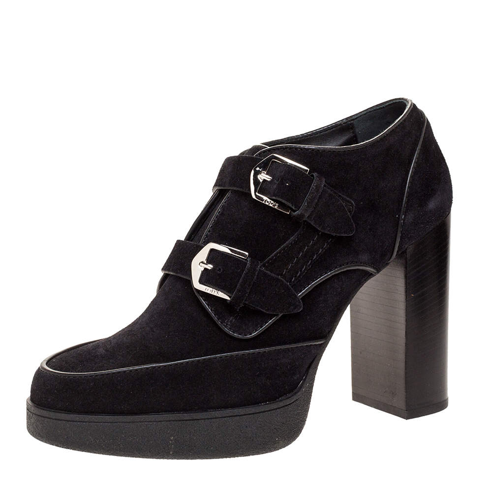 Tod's Black Suede Leather Platform Ankle Booties Size 39