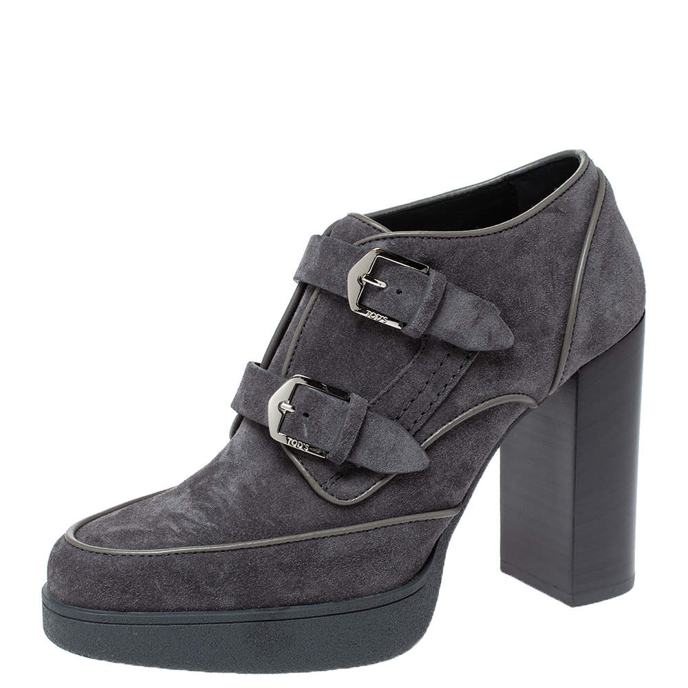 Tod's Grey Suede Leather Platform Ankle Booties Size 39