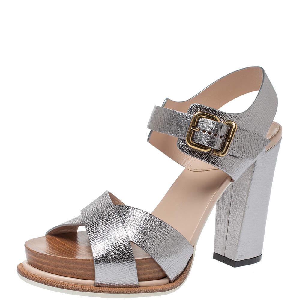 Tod's Sliver Leather Platform Ankle Strap Sandals Size 39.5