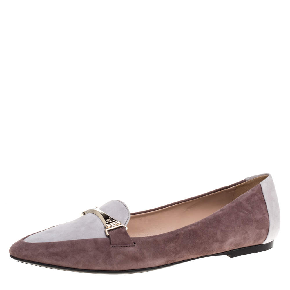 Tod's Two Tone Suede Leather Ballet Flats Size 38.5