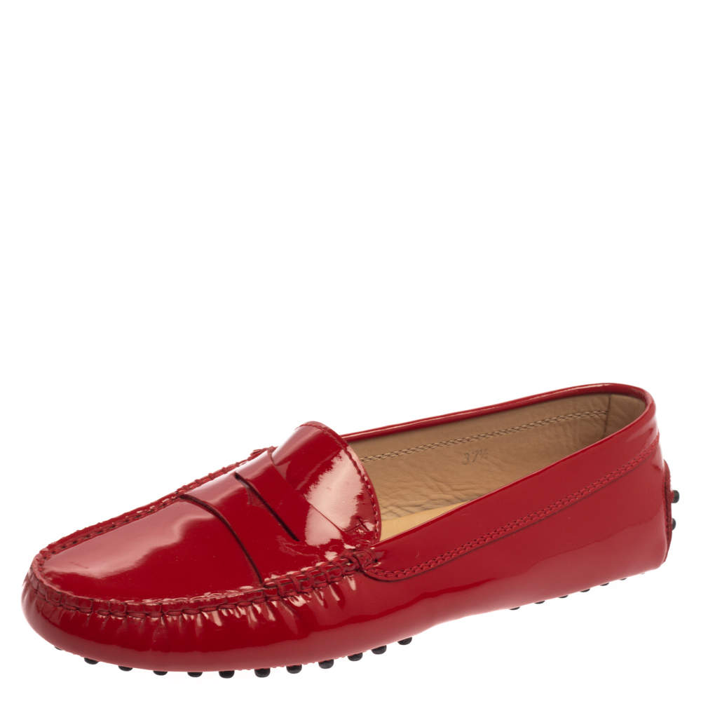 Tod's Red Patent Leather Gommino Penny Loafers Size 37.5