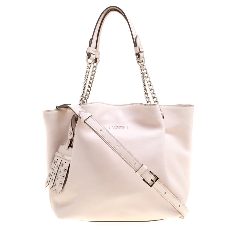Tod's Pink Leather Flower Chain Tote