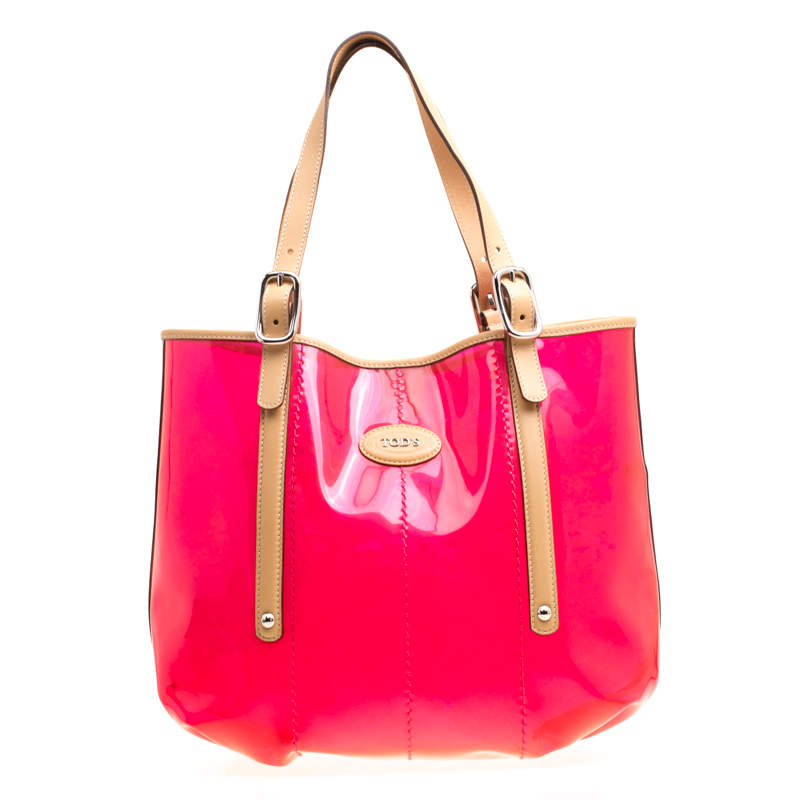 Tod's Red/Beige PVC and Leather Tote