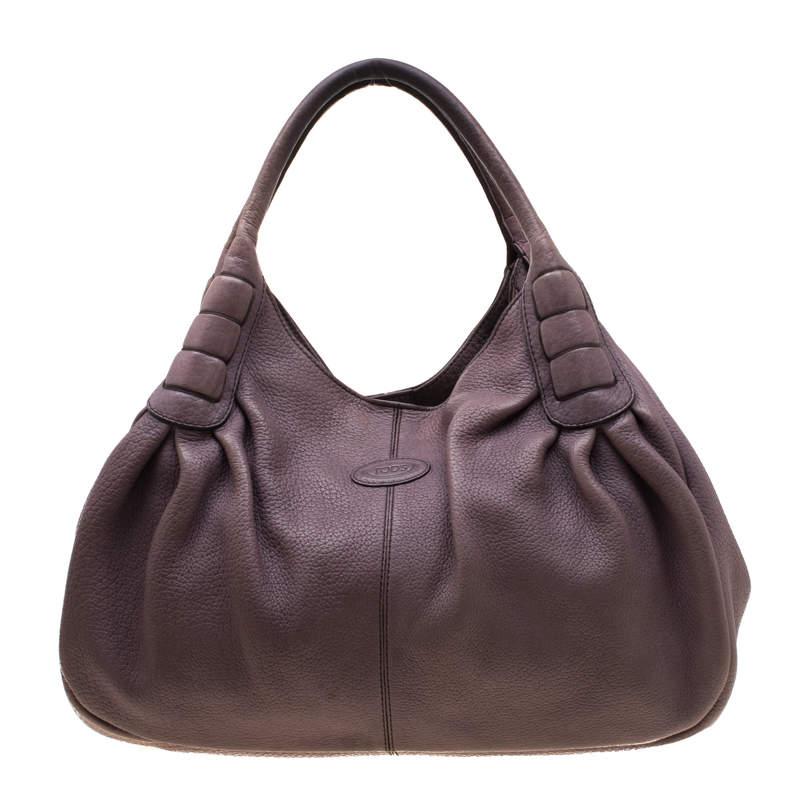 Tod's Purple Leather Ivy Sacca Media Hobo