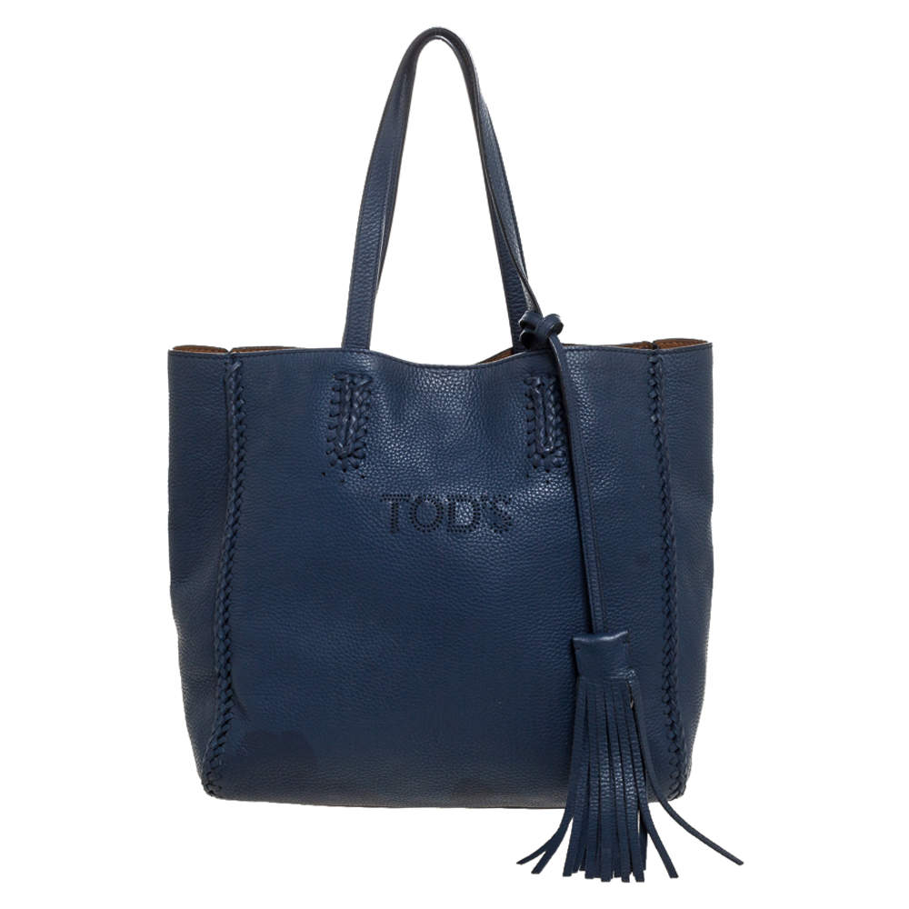 Tod's Blue Leather Shopper Tote