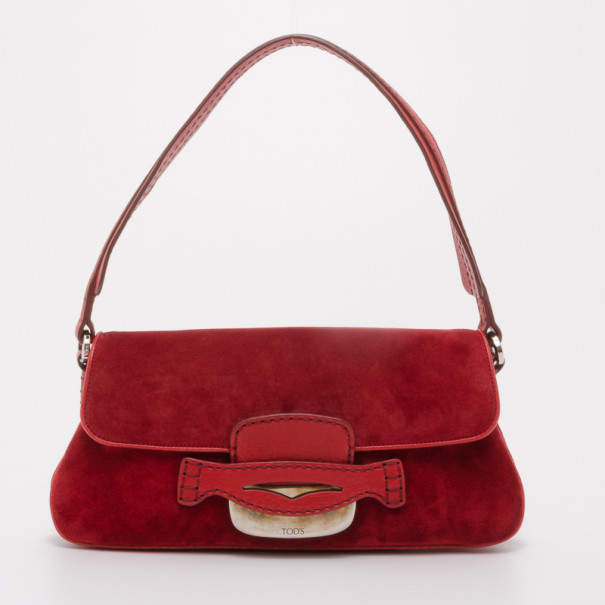 Tod's Red Suede Shoulder Bag