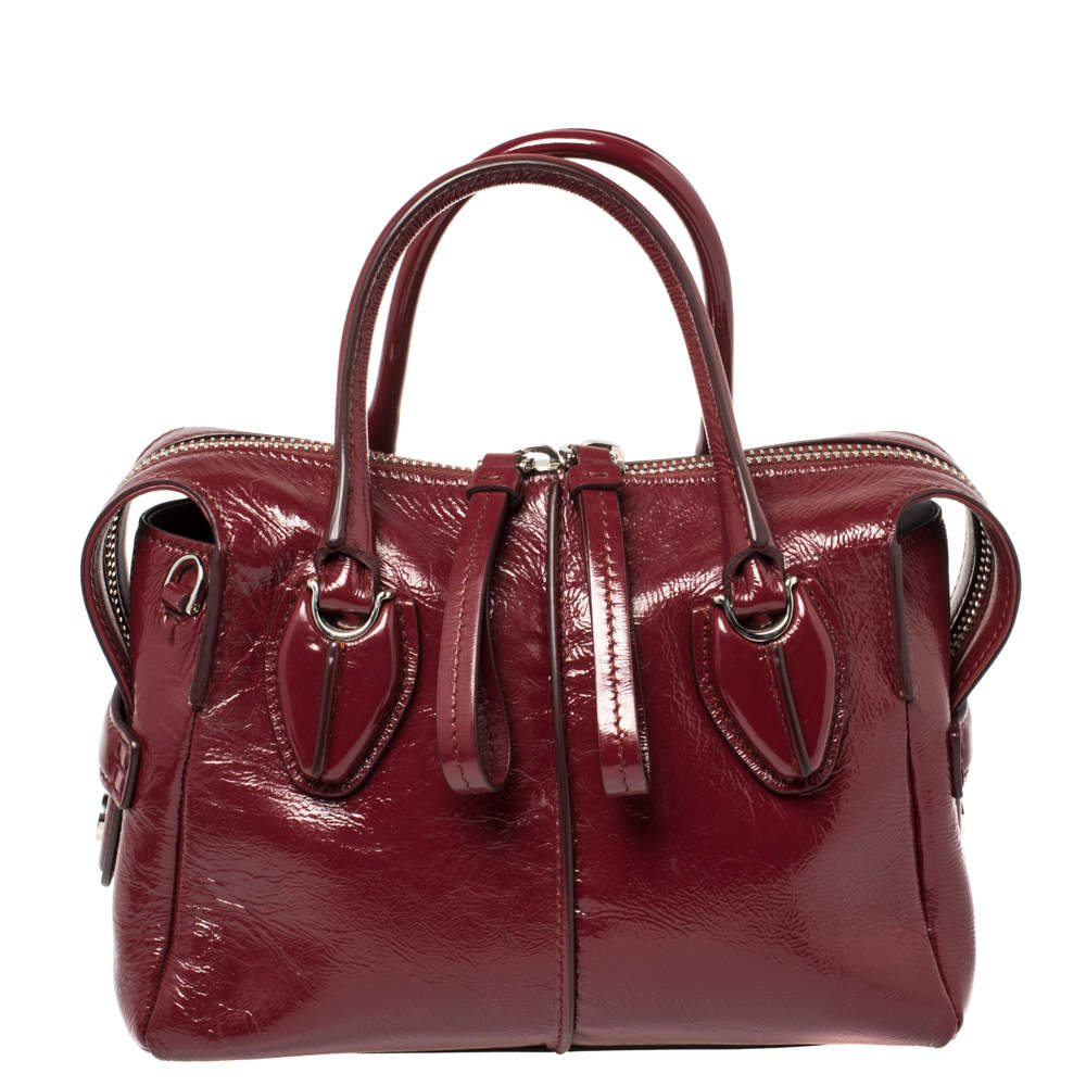 Tod's Burgundy Patent Leather Micro D-Styling Satchel