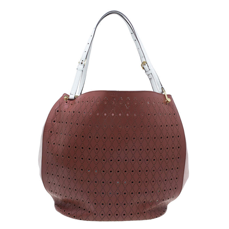 Tod's Brown Two Tone Perforated Leather Signature Secchiello Traforo Tote + Clutch