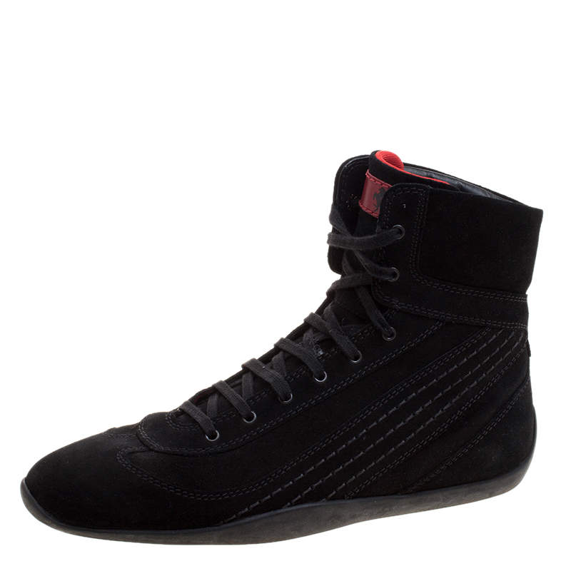 Tod's For Ferrari Black Suede Hi-Top Sneakers Size 39.5