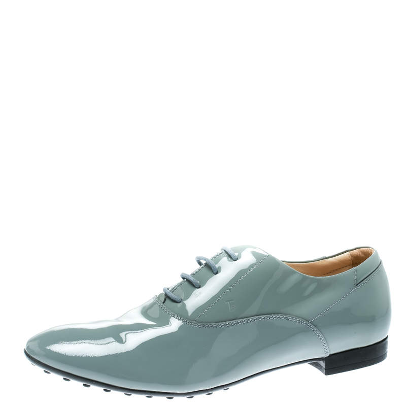 Tod's Grey Patent Leather Lace Up Oxford Size 40