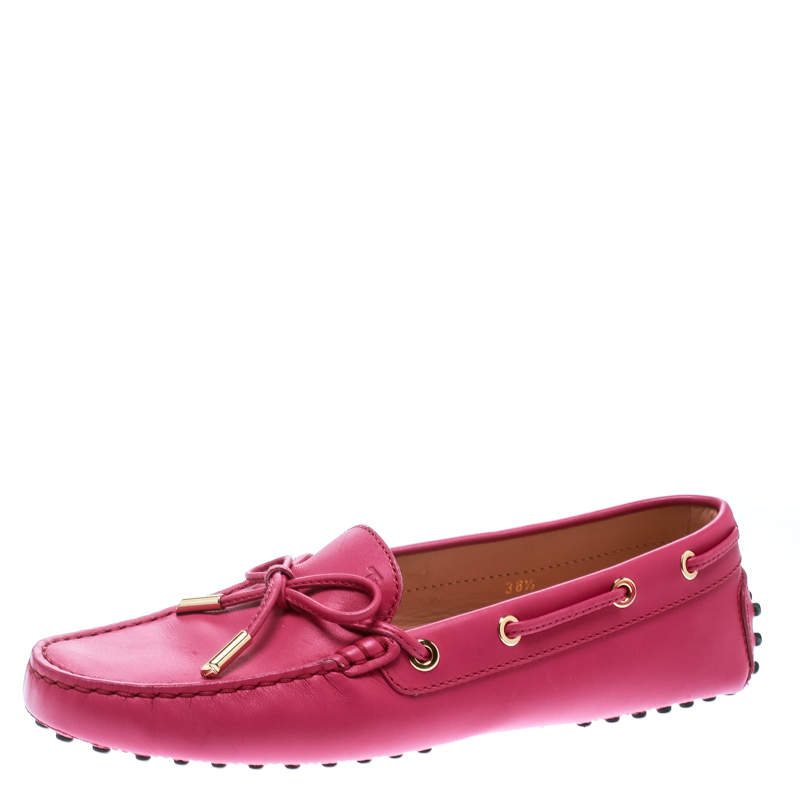 Tod's Purple Leather Bow Loafers Size 38.5