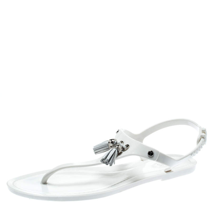 Tod's White Jelly Tassel Detail Thong Flat Sandals Size 37