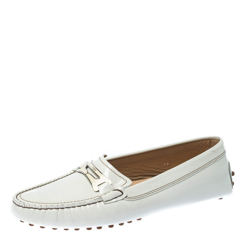 White Patent Leather Penny Loafers Size
