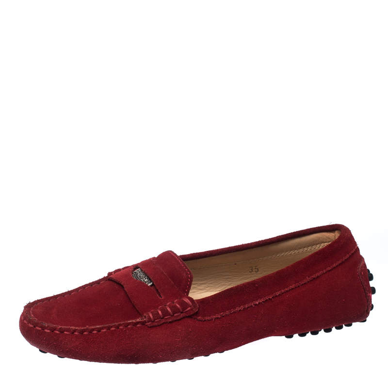 Tod's Red Suede Leather Penny Slip On Loafers Size 35