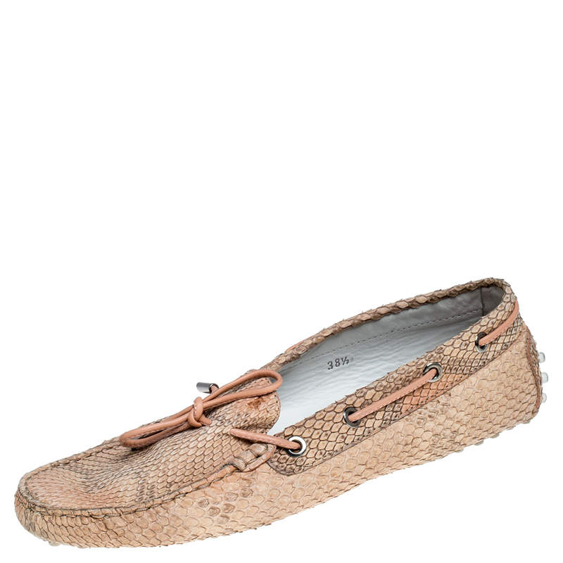 Tod's Beige Python Leather Gommino Loafers Size 38.5