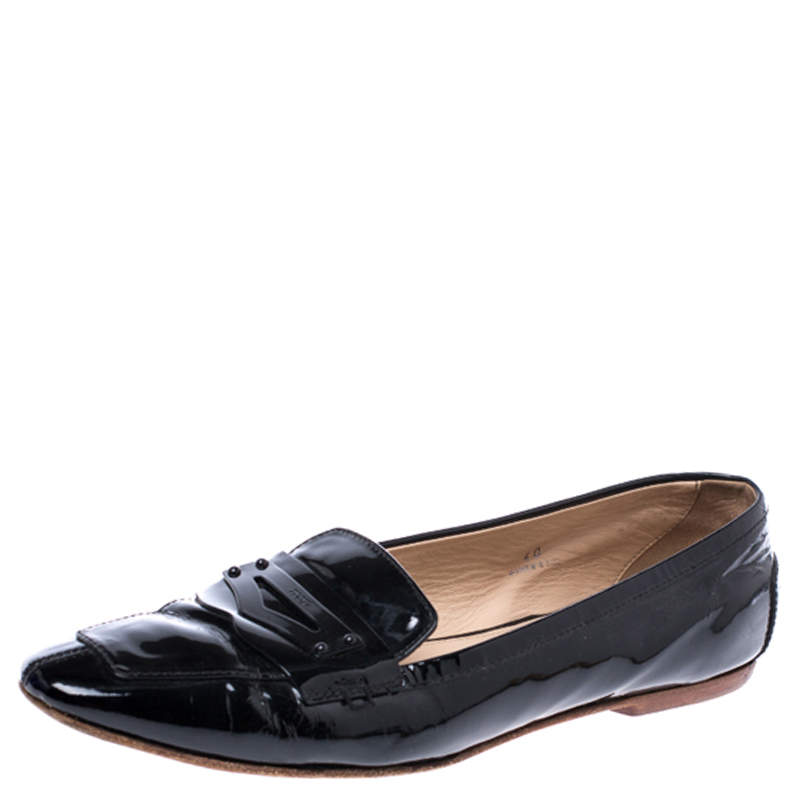 Tod's Black Patent Leather Pointed Toe Penny Loafer Size 40