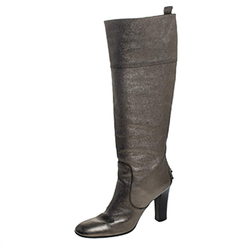 Tod's Metallic Grey Leather Knee Length Boots Size 36.5