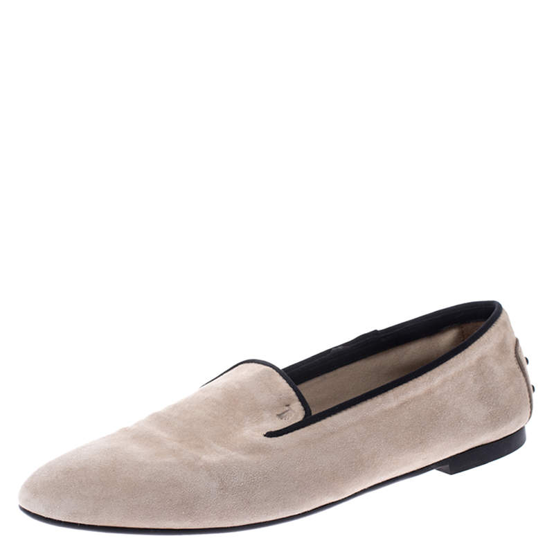 Tod's Beige Suede Slip On Loafers Size 38