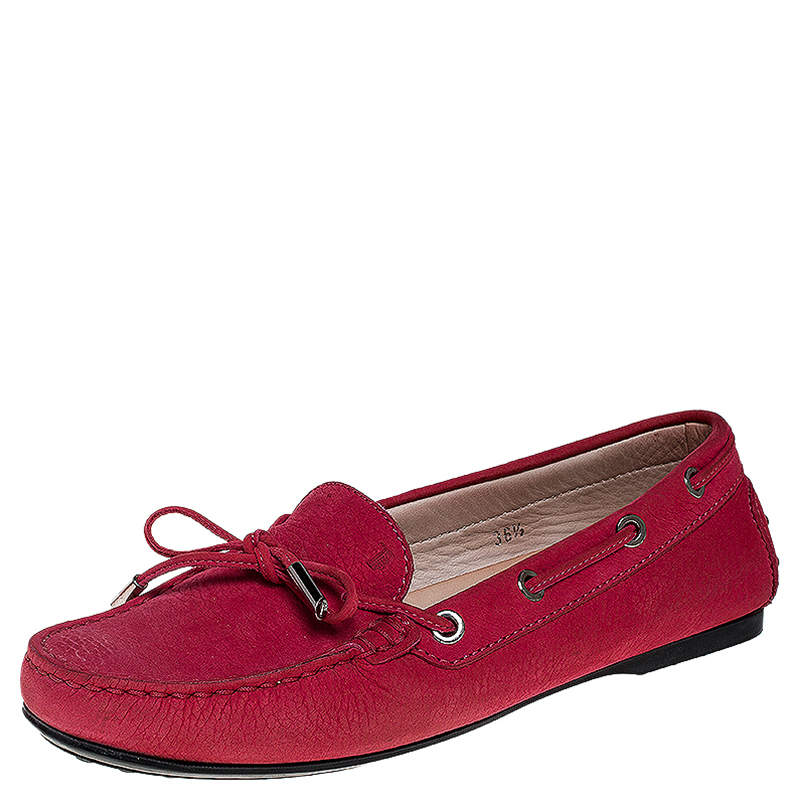 Tod's Pink Nubuck Gommino Loafers Size 36.5