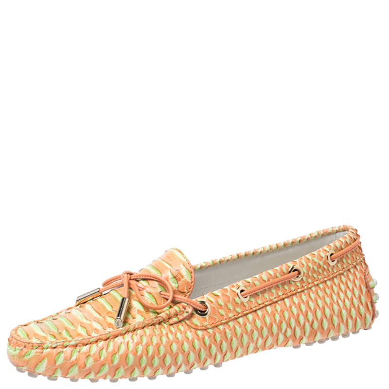 Tod's Orange/Green Python Gommino Bow Loafers Size 35.5