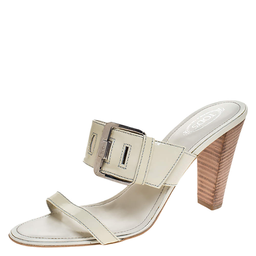 Tod's White Patent Leather Peggy Buckle Slide Sandals Size 41