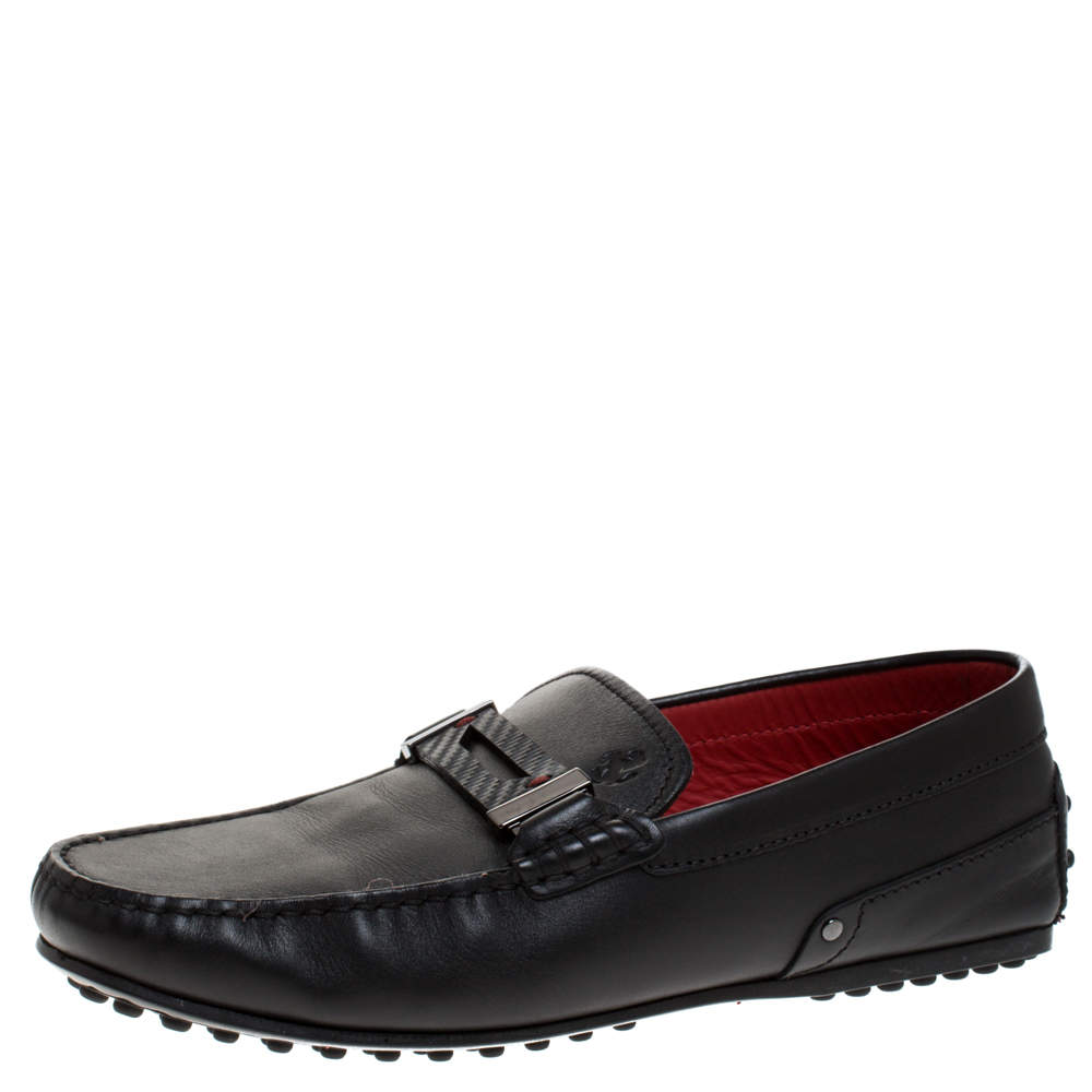 Tod's for Ferrari Black Leather Loafers Size 38.5