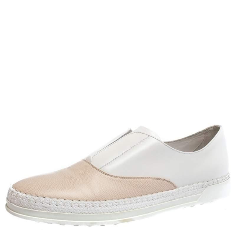 Tod's White/Peach Leather Francesina Espadrille Slip On Sneakers Size 39.5