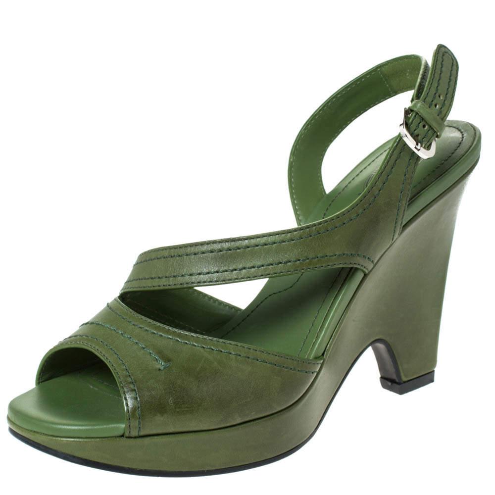 Tod's Green Leather Slingback Platform Wedges Size 38