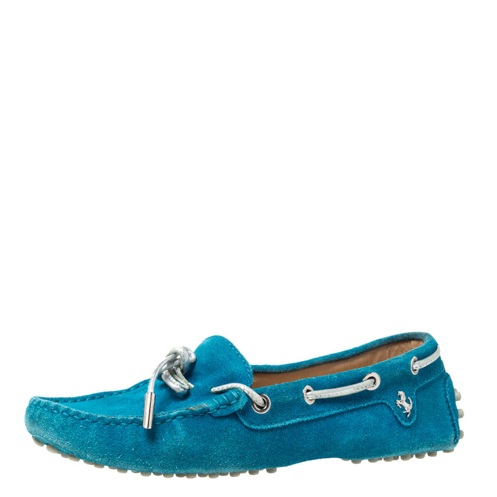 Tod's For Ferrari Teal Blue Suede Bow Loafers Size 35.5